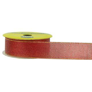 RIB NYLON TAFFETA 25MM METALLIC RED 3MT