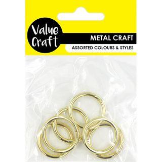 RINGS 25MM METAL GOLD 6PC