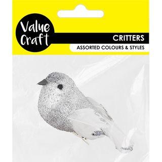 CRAFT BIRD GLITTER SILVER WITH CLIP 1PC
