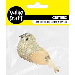 CRAFT BIRD GLITTER GOLD WITH CLIP 1PC