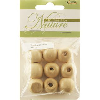 BEAD WOOD 18MM ROUND NATURAL 9PC