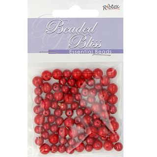 BEAD PLASTIC PEARL 4-6MM RED 15G