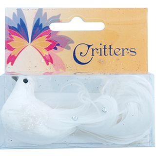 CR BIRD GLITTER RHINESTONE 9CM WHITE 1PC