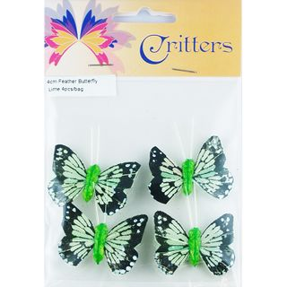 CR BUTTERFLY FEATHER 4CM LIME 4PCS