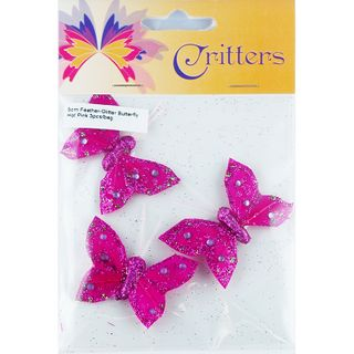 Butterfly Feather Glitter 5cm Hot Pink