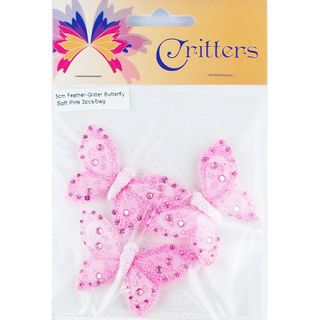 Butterfly Feather Glitter 5cm Pink 3Pcs