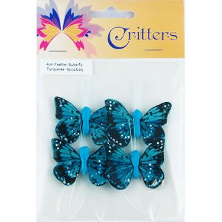 Butterfly Feather 4cm Turquoise 4Pcs