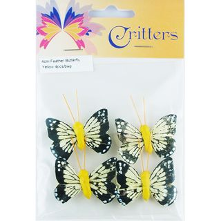 Butterfly Feather 4cm Yellow 4Pcs