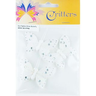 Butterfly Feather Glitter 5cm White 3Pcs