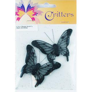 Butterfly Gauze 6.5cm Black 2Pcs