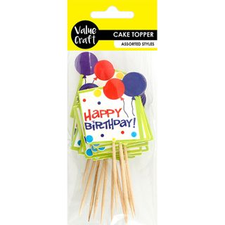 Cft Cake Toppers H. Bday Multi 12Pcs