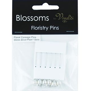 Floral Corsage Pins 55mm Pearl / Silver