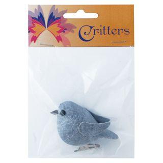 CR BIRD FABRIC CLIP 6CM PALE DENIM 1PC