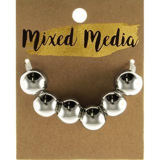 Metallic Round Beads Shiny Silver 6Pcs