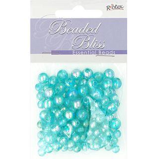 Bead Plastic Round 6-8mm Turquoise 20G