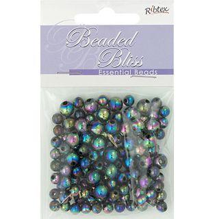 Bead Plastic Round 6-8mm Black AB 20G