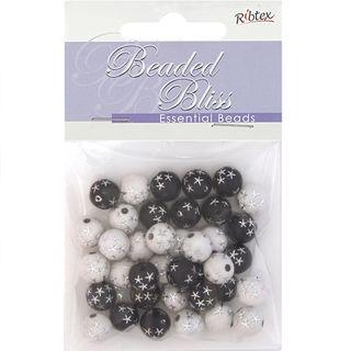 Bead Plastic Round Black & White 20G