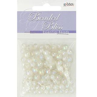 Bead Plastic Round 6-8mm White AB 20G