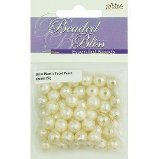 Bead Plastic Faceted Round Pearl Cream