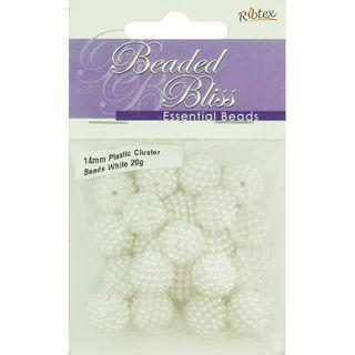 Bead Plastic Round Cluster 14mm White