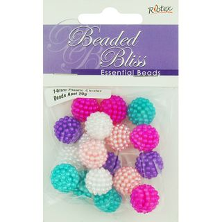 Bead Plastic Round Cluster 14mm Assorted