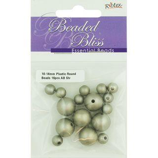 Bead Plastic Round AB Silver 16Pcs