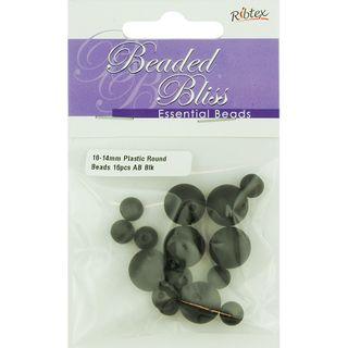 Bead Plastic Round AB Black 16Pcs
