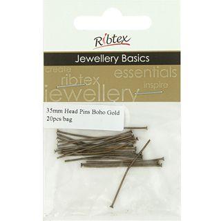Head Pins 35mm Boho Gold 20Pcs