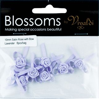 Flower Satin Rose with Bow 10mm Lavender