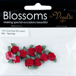 Grub Rose with 7mm Leaves Red 10Pcs
