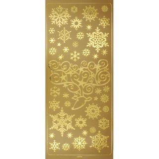 Stickers Snowflakes Deer Gold 1 Sheet