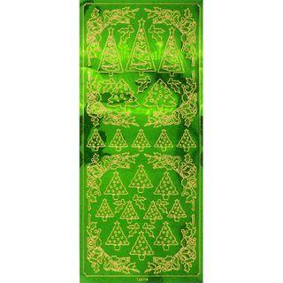Stickers Green Xmas Trees 1 Sheet