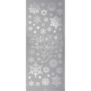 Stickers Snowflakes Deer Silver 1 Sheet