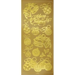 Stickers Xmas Baubles Gold 1 Sheet