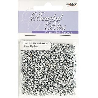 Bead Plastic Round Spacer 2Mm Silver 10G