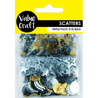 CRAFT SCATTERS TRIO PARTY BLK-SLV-GD 21G