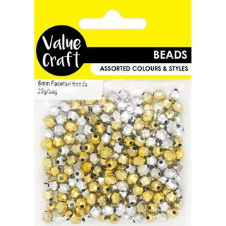 BEAD PLASTIC FACETED GOLD-SILVER 25G