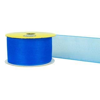 RIB 38MM WOV EDGE ORGANZA ROYAL BLUE 4M