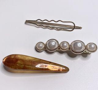 Hair Clip(gold) silver leaf rec/tri