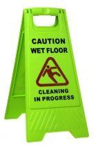 A Frame GREEN Wet Floor Sign/Clean in Progress