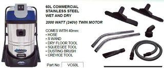CleanStar Wet N Dry Vac 60L Stainless 2 Vac Motors