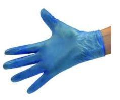 Vinyl Gloves Lightly Powdered Blue Medium Box 100