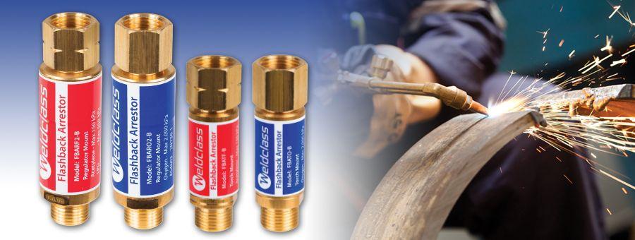flashback arrestors for oxy, acetylene and LPG (propane) equipment