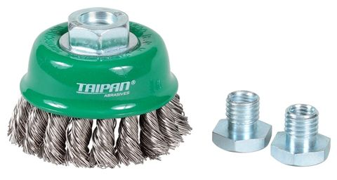 BRUSH-CUP T/KNOT  75MM M14x2/10x1.5 S/S