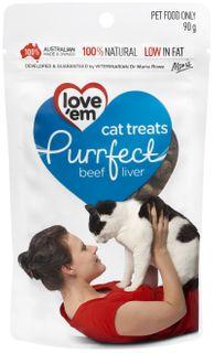 LOVE EM PURRFECT BEEF & PORK TREAT 90G