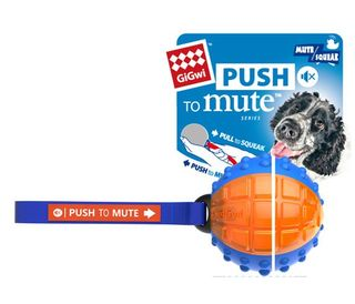 GIGWI REGULAR BALL PUSH TO MUTE TRANS BLUE ORANGE