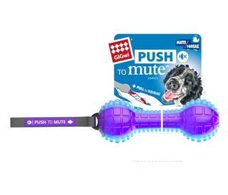 GIGWI DUMBELL PUSH TO MUTE TRANS PURPLE BLUE