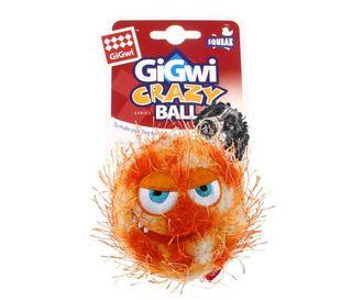 GIGWI CRAZY BALL W/SQUEAKER ORANGE MED
