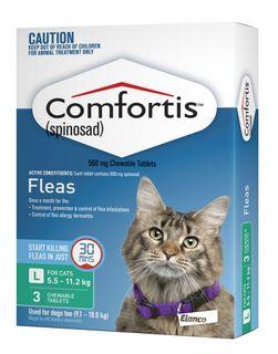 COMFORTIS CAT 5.5-11.2KG GREEN 3PACK 560MG