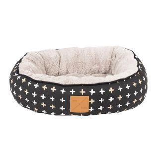 MOG AND BONE CAT 4 SEASON REVERSE CIRCULAR BED BLACK CROSS